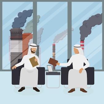 Arabische geschäftsmänner mit dokumenten, rauchende industrierohrillustration