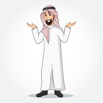 Arabische geschäftsmann-karikaturfigur in traditioneller kleidung, die seine hände ausbreitet