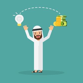 Arabische geschäftsmannänderungsideen in geld