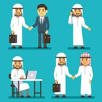 Arabische geschäftsmanncharaktere bei der arbeit in saudischen leuten des büros eingestellt. business-araber in der kleidung