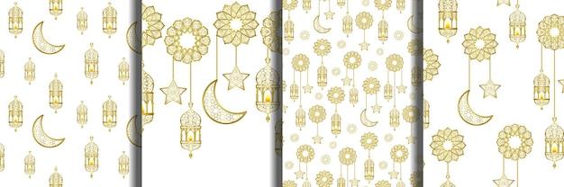Arabische goldene laterne nahtlose muster und rahmenset