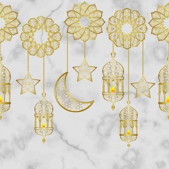 Arabische goldene laterne und goldene halbmondsterne nahtlose grenze auf weißem marmorhintergrund