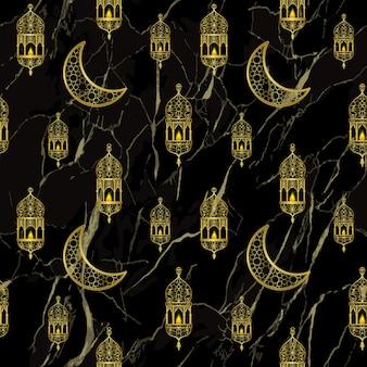 Arabische goldene laterne und goldhalbmond nahtloses muster auf schwarzem marmorhintergrund