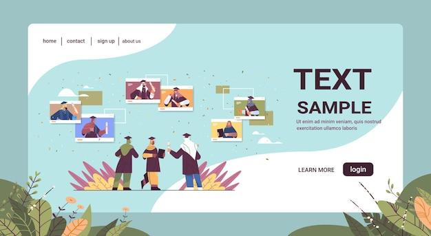 Arabische graduierte studenten im webbrowser windowsarabische absolventen feiern akademisches diplom ausbildung universitätszertifikat konzept horizontale kopie raum vektor illustration
