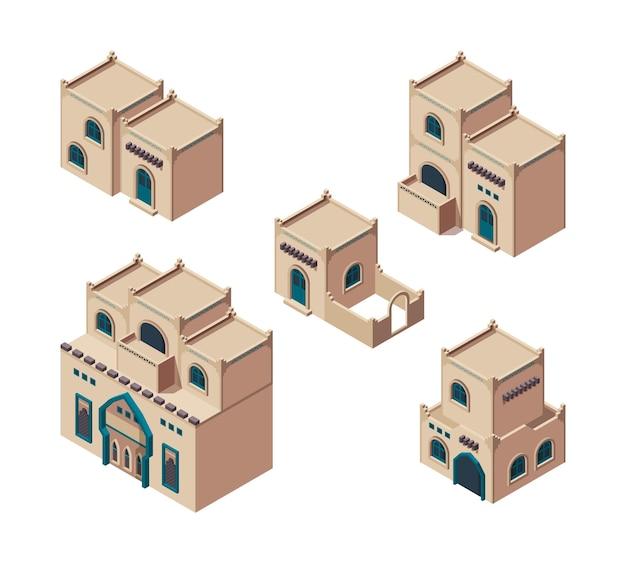Arabische häuser. isometrische sandige authentische alte gebäude isometrischer antiker arabischer bauvektorsatz. äußere afrikanische isometrische gebäudeillustration
