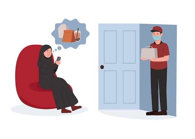 Arabische hijab-frauen, die lebensmittel-online-konzeptillustration bestellen