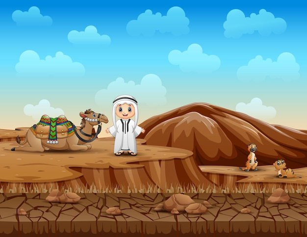 Arabische jungen mit kamelen in der trockenen landlandschaft