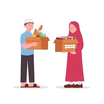 Arabische jungen und mädchen halten spendenbox für almosen