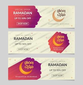 Arabische kalligraphie des textes ramadan mubarak, islamische gruß-schablone