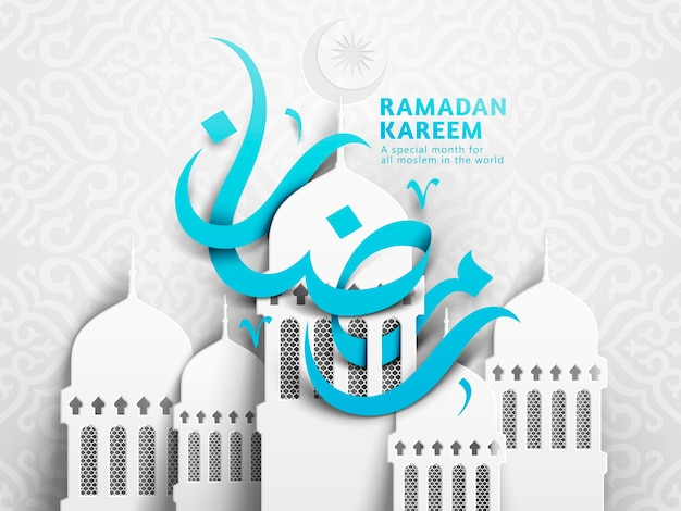 Arabische kalligraphie für ramadan kareem, weißes moscheeelement, hellblaue wörter