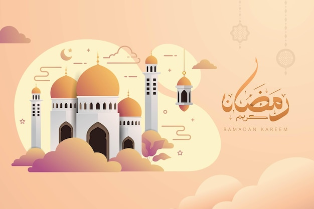 Arabische kalligraphiebanner des ramadan kareem mit niedlicher moschee