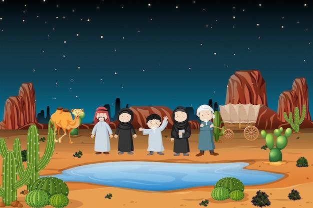 Arabische karawane in der wüste