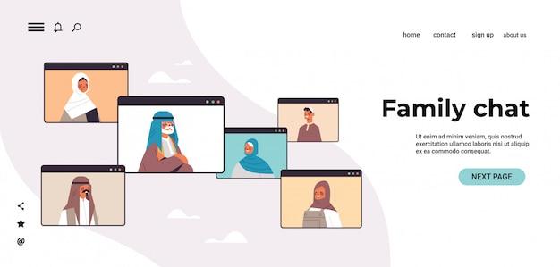Arabische kinder eltern und großeltern diskutieren während des videoanrufs familienchat online-kommunikationskonzept arabische menschen chatten im webbrowser windows porträt horizontale kopie raum illustr