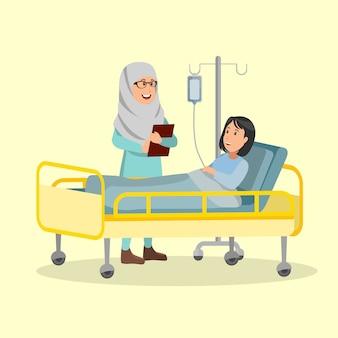 Arabische krankenschwester, die patientenbedingungen-illustrations-vektor-karikatur überprüft