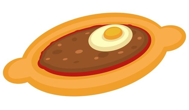 Arabische küche und traditionelle gerichte der türkei. türkisches essen aus brot, fleisch und ei isolierte ikone. pide oder lahmacun aus teig. orientalische pizza oder snack. essen von mahlzeiten. vektor im flachen stil