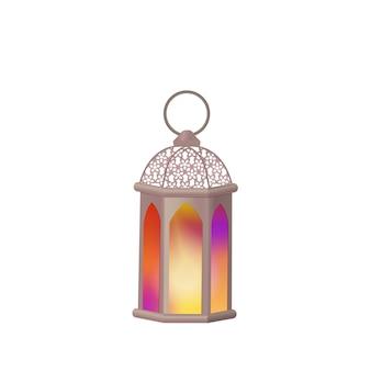 Arabische laterne mit mehrfarbigem glas. das symbol des ramadan.