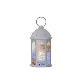 Arabische laterne mit mehrfarbigem glas. fanous ist das symbol des ramadan.