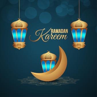 Arabische laterne von ramadan kareem mit goldenem mond