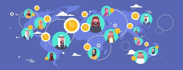 Arabische leute, die bitcoins über weltkarte-modernem digital-geld-netz-krypto-währungs-konzept gewinnen