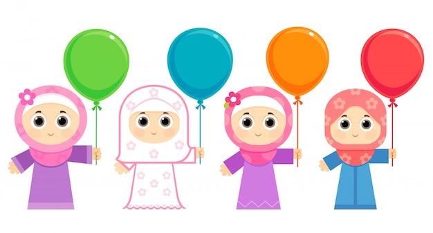 Arabische mädchen, die eid feiern, hijab tragen und bunte ballone tragen