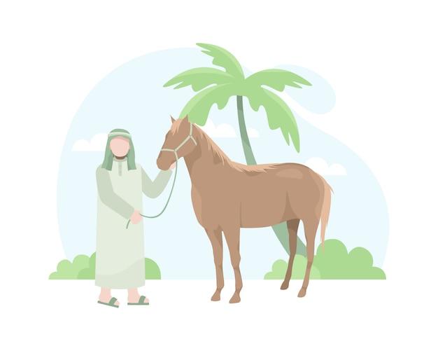 Arabische mann- und pferdeillustration