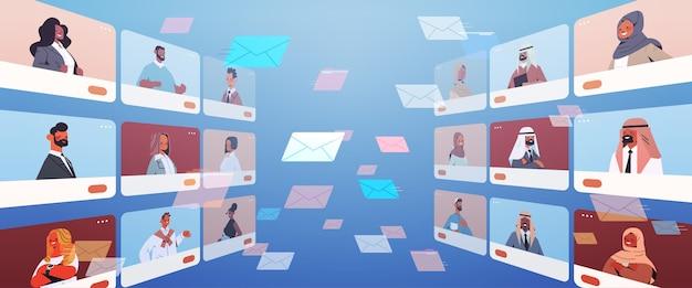 Arabische menschen in webbrowser-fenstern, die während des videoanrufs der virtuellen konferenz des online-kommunikationskonzepts chatten und diskutieren horizontale porträtvektorillustration