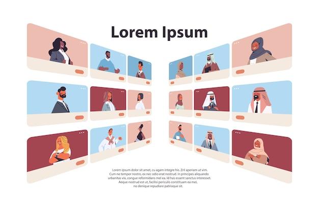 Arabische menschen in webbrowser-fenstern, die während des videoanrufs virtuelle konferenz-online-kommunikationskonzept chatten und diskutieren horizontales porträt kopieren raum vektor-illustration