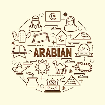 Arabische minimale dünne linie icons set