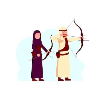 Arabische moslemische mann-und frauen-sport-tätigkeits-bogenschießen-illustration