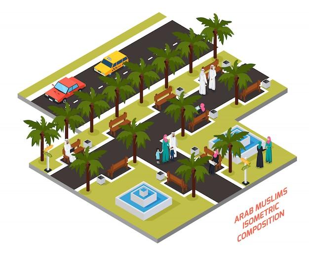 Arabische moslems in der parkzusammensetzung