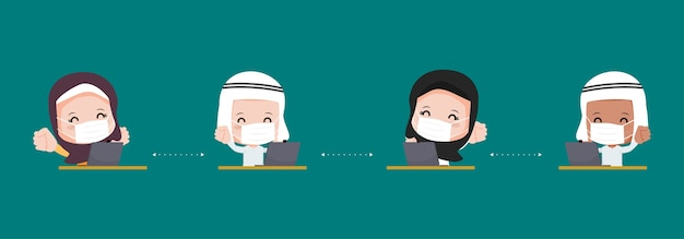 Arabische muslime halten abstand am schreibtisch. neuer normaler lifestyle-charakter. schutz vor virus covid-19.