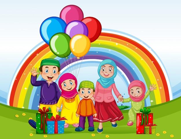 Arabische muslimische familie in traditioneller kleidung im urlaub mit regenbogenhintergrund