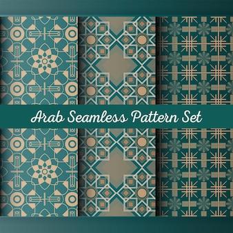 Arabische muster stellen design und tapetenverzierung ein. arabischer nahtloser mustersatz.