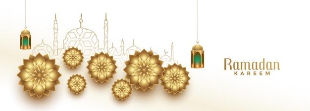 Arabische ramadan kareem islamische eid festival banner design