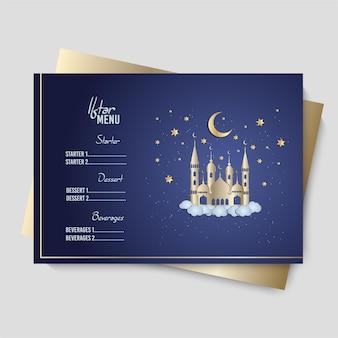 Arabische restaurantkarte. iftar party
