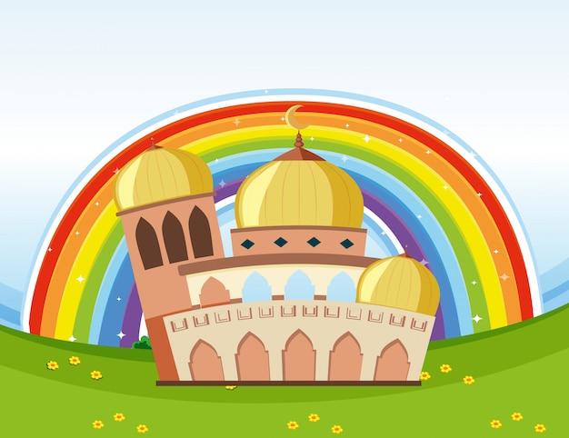 Arabische schöne moschee mit regenbogenhintergrund