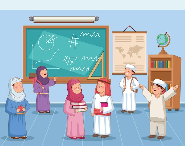 Arabische schüler im klassenzimmer