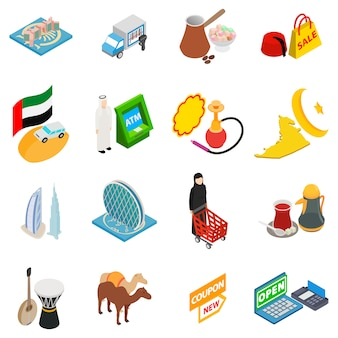 Arabische shopping icon set
