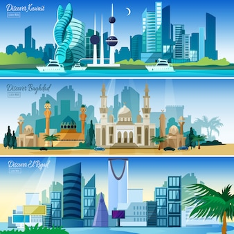 Arabische stadtansicht horizontale banner set
