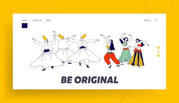 Arabische tänze landing page template. wirbelnder derwisch und mädchen in traditionellen outfits tanzen mit erhobenen händen