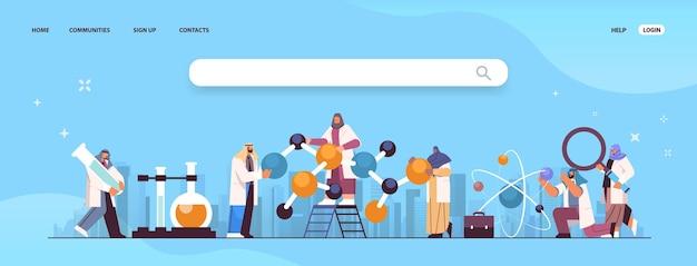 Arabische wissenschaftler, die mit molekularstruktur arbeiten arabische forscher, die chemische experimente im labor-molekular-engineering-konzept durchführen, horizontale kopienraumvektorillustration in voller länge