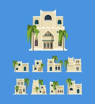 Arabische wüstengebäude. ältere traditionelle traditionelle häuser ägyptens backstein architektonische objekte alte häuser. illustrationsstruktur sandsteinhaus, historische gebäudewüste