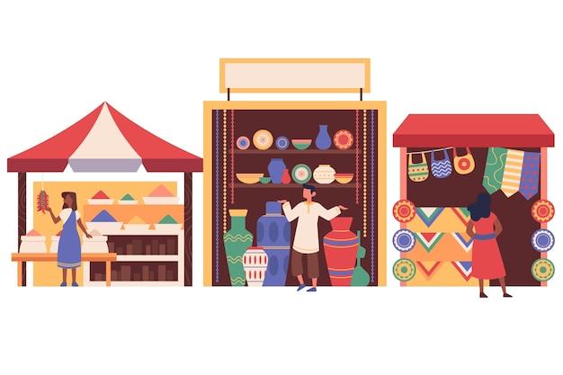 Arabischer basar, der hochwertige teppiche verkauft
