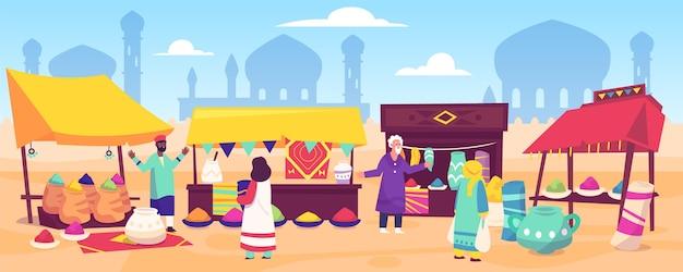 Arabischer basar mit flachem design
