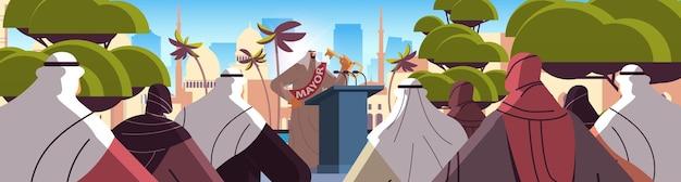 Arabischer bürgermeister mit schlüsselrede von tribüne öffentliche erklärung konzept horizontale stadtbild hintergrund vektor-illustration