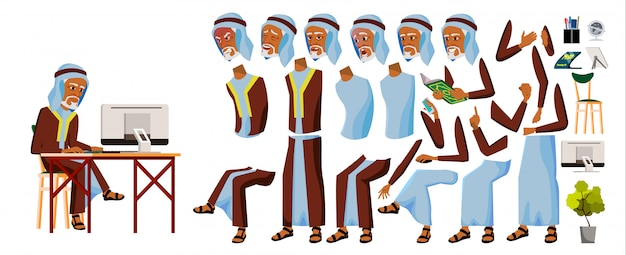 Arabischer büroangestellter des alten mannes