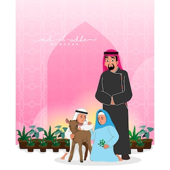 Arabischer familiencharakter mit ziege und blumentöpfen für eid-al-adha mubarak-konzept.