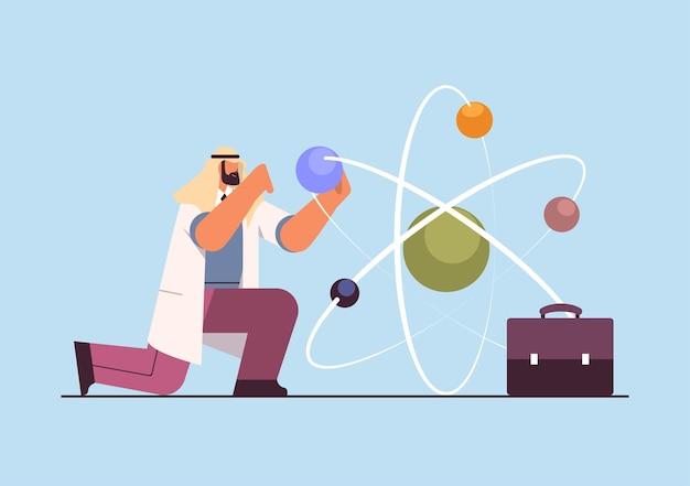 Arabischer forscher, der mit molekularstruktur-mannforschern arbeitet, der chemische experimente im labor-molekular-engineering-konzept horizontale vektorillustration in voller länge durchführt