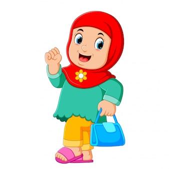 Arabischer frauencharakter der karikatur mit dem hijab-tragen