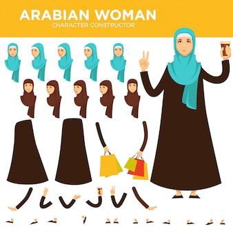 Arabischer frauencharakter-vektorerbauer